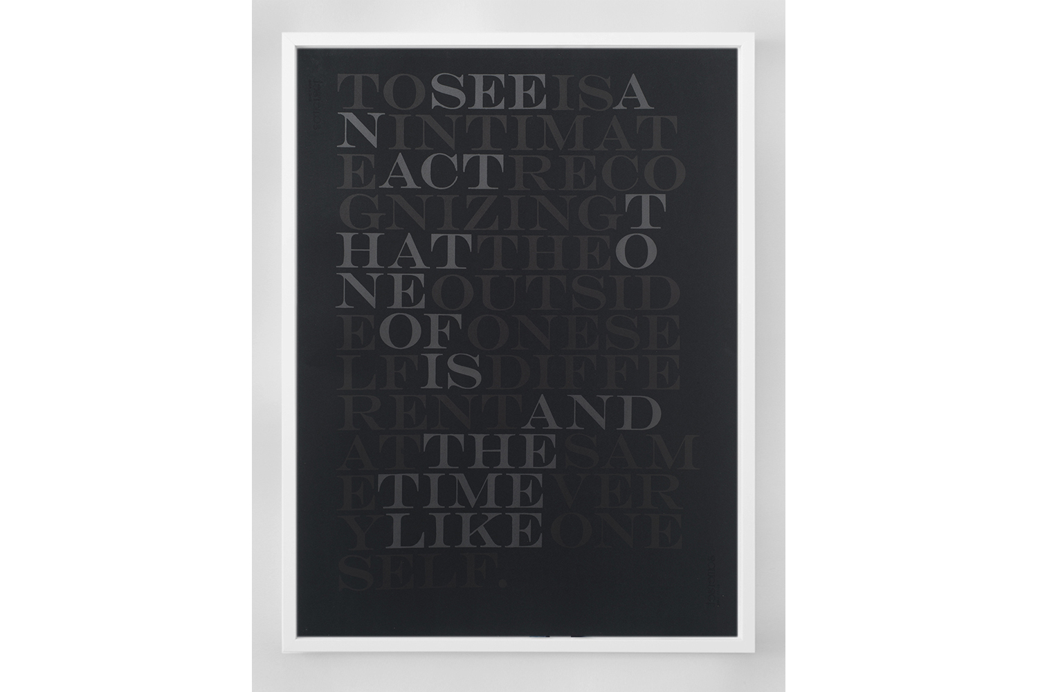 The Sighted (To See), black, 2013; Lithographic print, framed; 34 x 26 inches